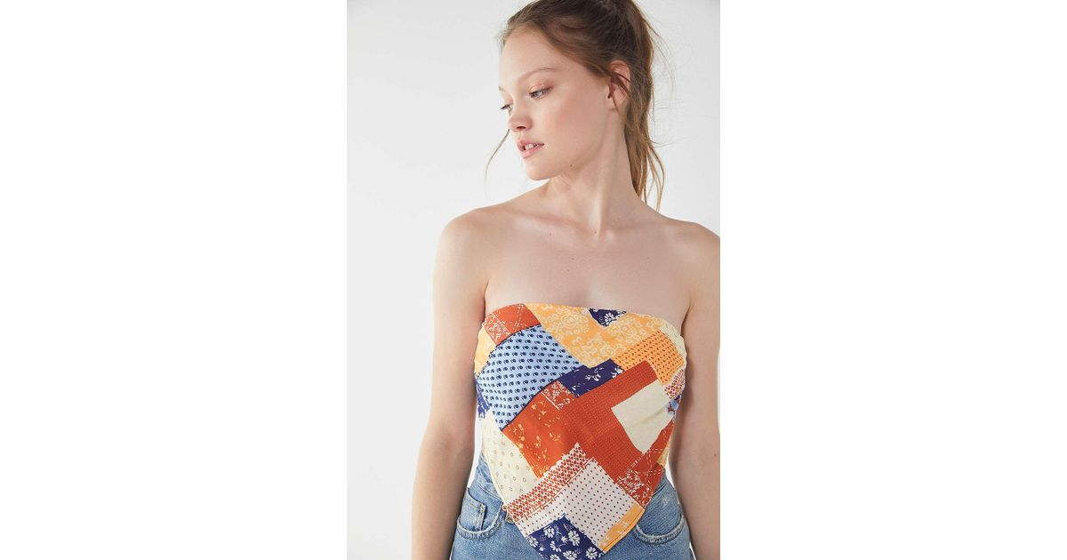 33d4e0ef44 Lyst - Urban Outfitters Uo Bandit Patchwork Bandana Tube Top