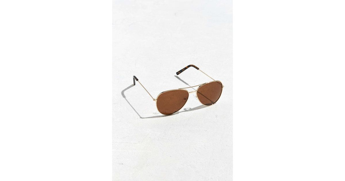15f9460eff Lyst - Urban Outfitters Uo Aviator Sunglasses in Metallic for Men