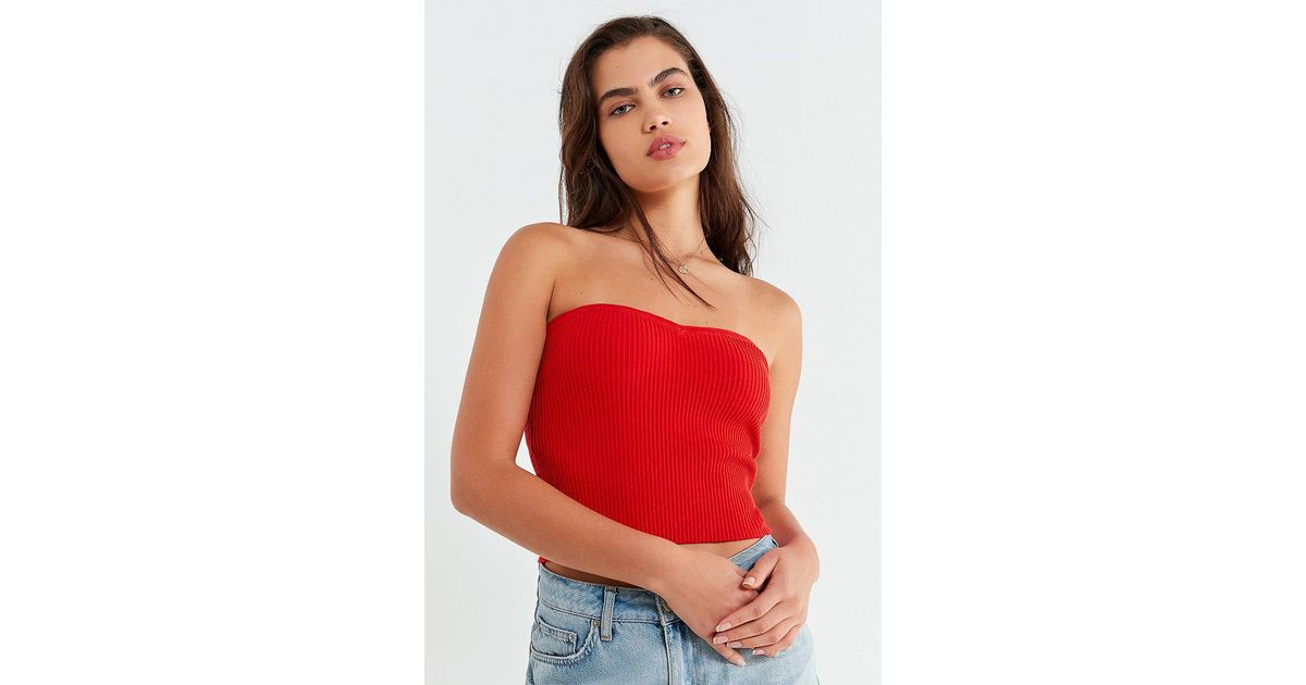 69d0468164c Lyst - Urban Outfitters Uo Toni Sweater Tube Top in Orange