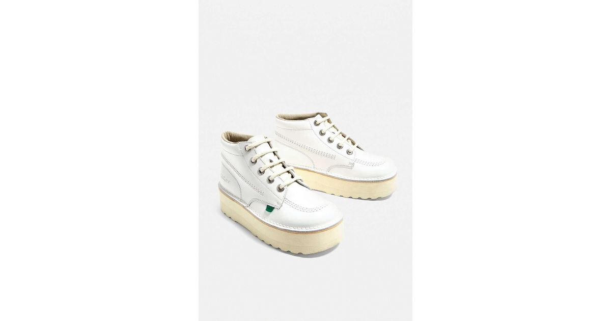 Kickers Higher Stack White Nubuck Leather Boots