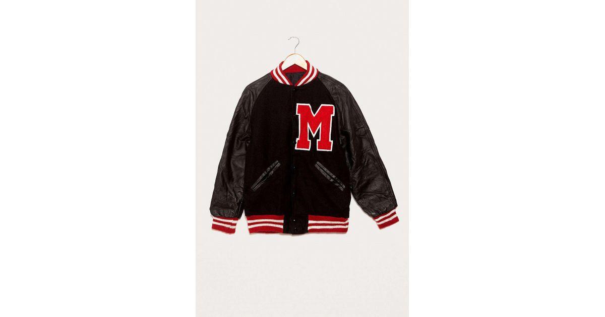 Urban Renewal Vintage One Of A Kind Black And Red Varsity Jacket