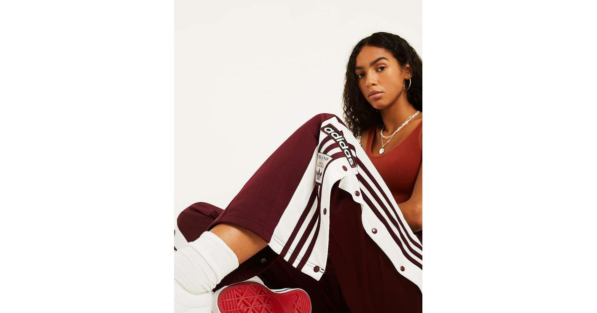 adidas Originals Adibreak Popper Track Pants In Maroon in
