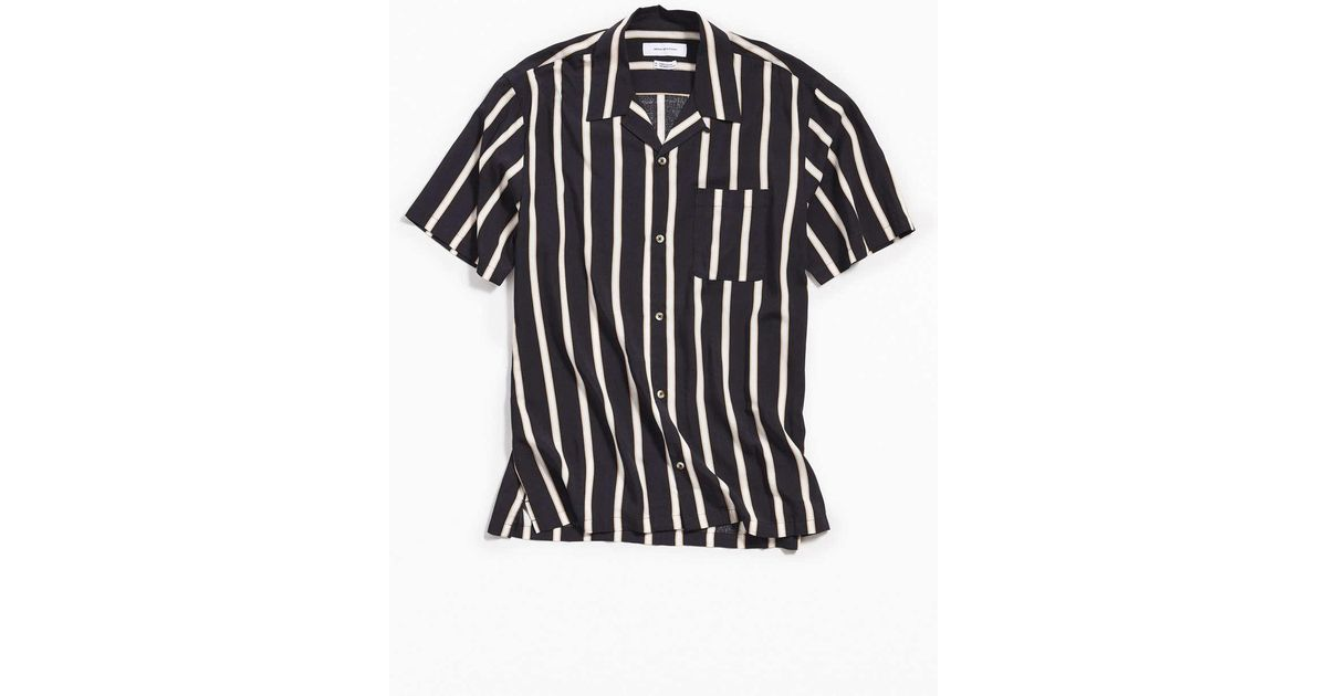 607cfd89d Urban Outfitters Uo Sport Striped Rayon Short Sleeve Button-down Shirt in  Black for Men - Lyst