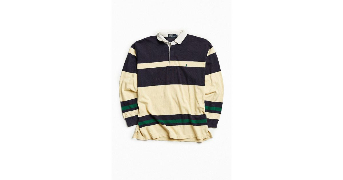 Lyst - Urban Outfitters Vintage Polo Ralph Lauren Stripe Rugby Shirt in  Blue for Men