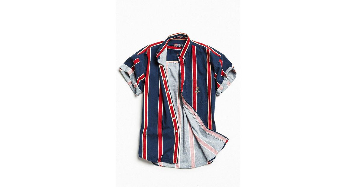 076fbbf2a60 Urban Outfitters Blue Vintage '90s Vertical Stripe Short Sleeve Button-down  Shirt for men