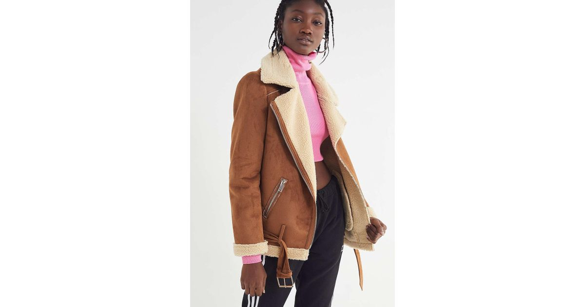 Lyst - Urban Outfitters Uo Athena Aviator Jacket in Brown b07dc98de