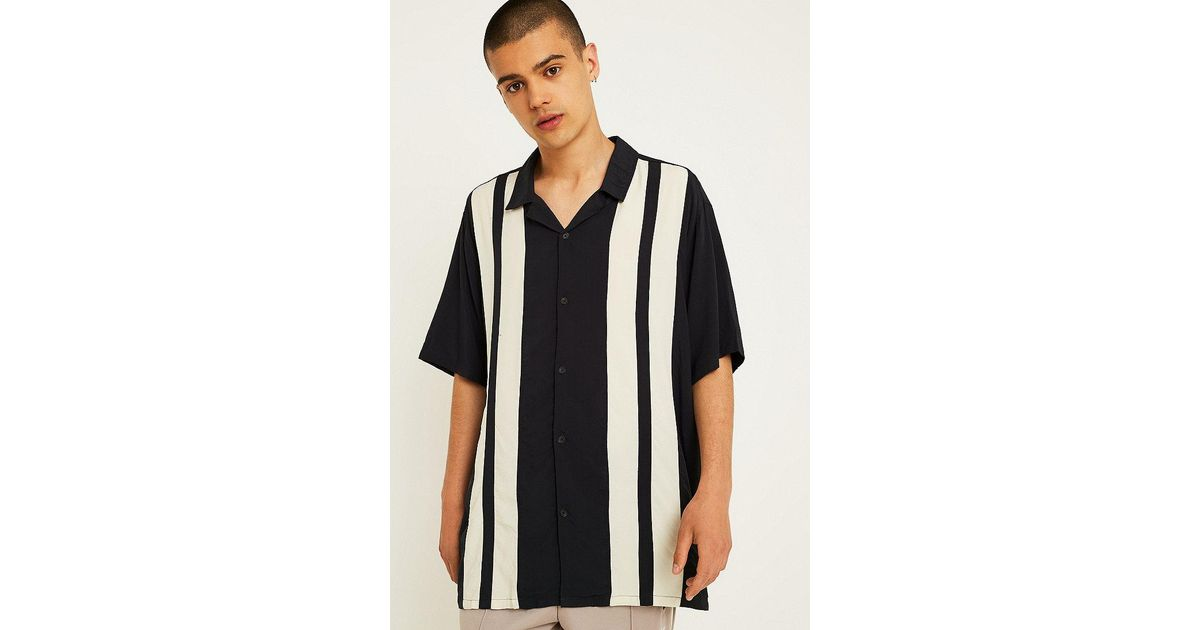 2ba95e147 Urban Outfitters Uo Short-sleeve Striped Bowling Shirt in Black for Men -  Lyst