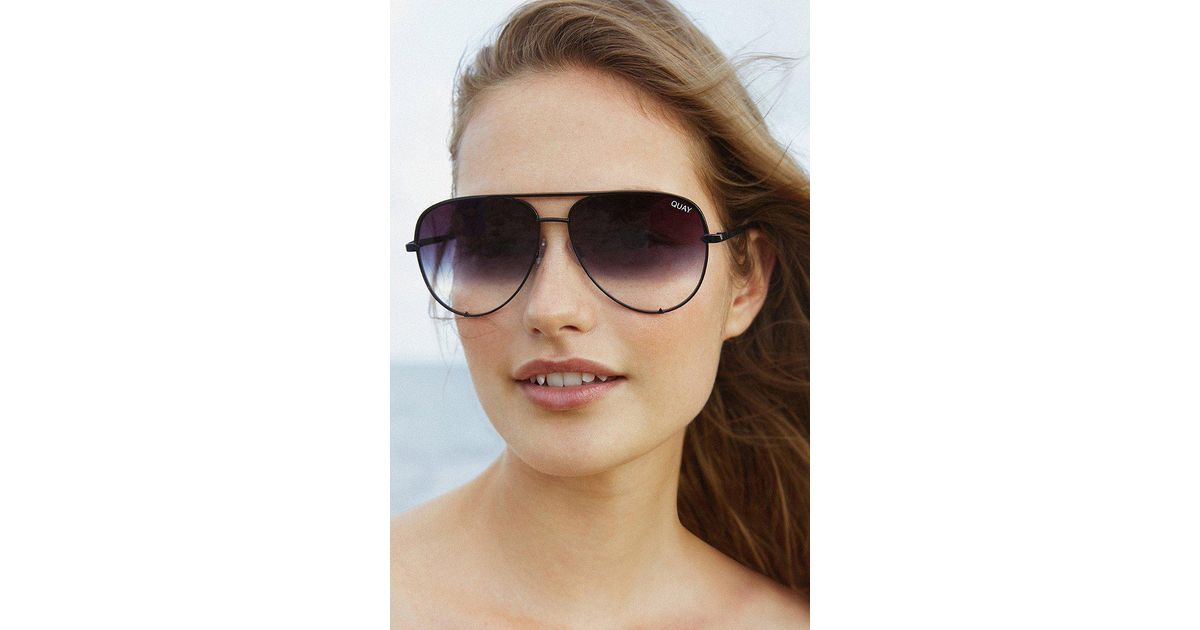 3c2b29a0015508 Quay X Desi Perkins High Key Aviator Sunglasses in Black - Lyst