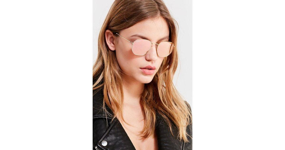 bf19d27d7c4 Lyst - Ray-Ban Ray-ban Hexagonal Flat Lens Gold Sunglasses in Metallic