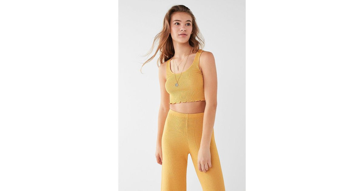 66ba39184d8832 Urban Outfitters Uo Cropped Ribbed Sweater Tank Top in Yellow - Lyst