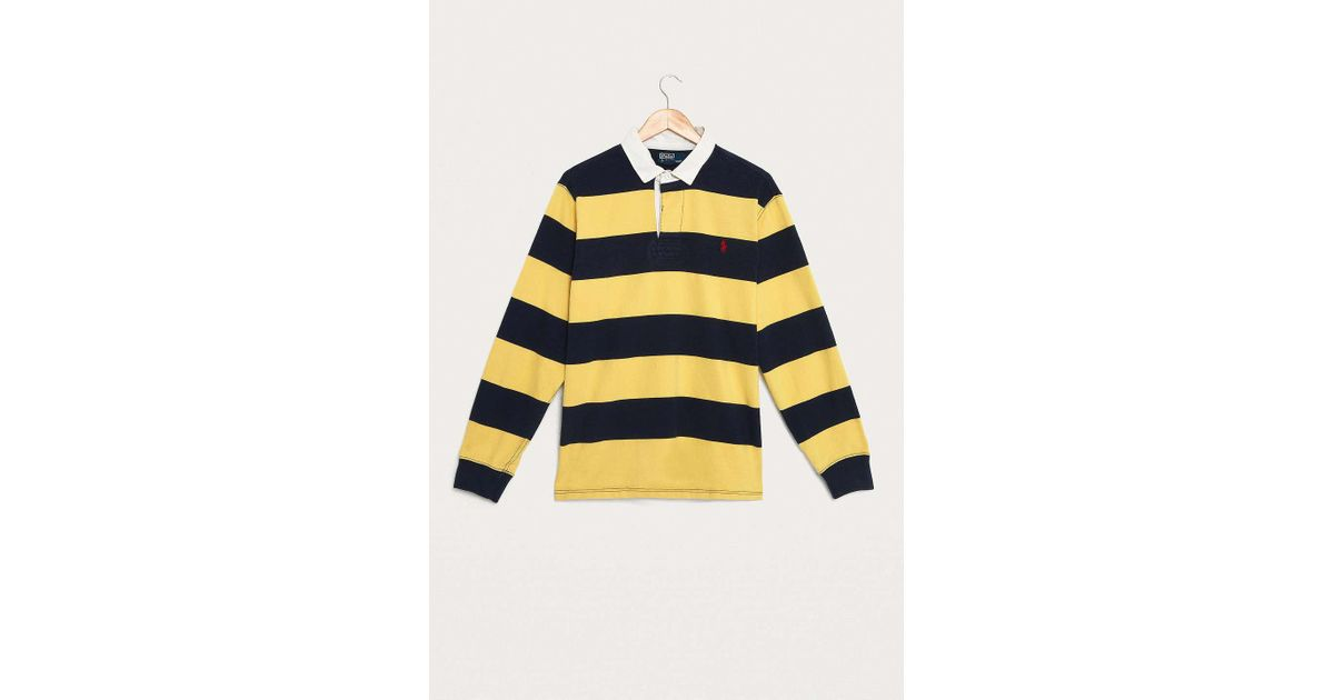 e228ef7c Urban Renewal - Blue Vintage One-of-a-kind Ralph Lauren Yellow And Navy  Striped Rugby Shirt - Mens Xl for Men - Lyst