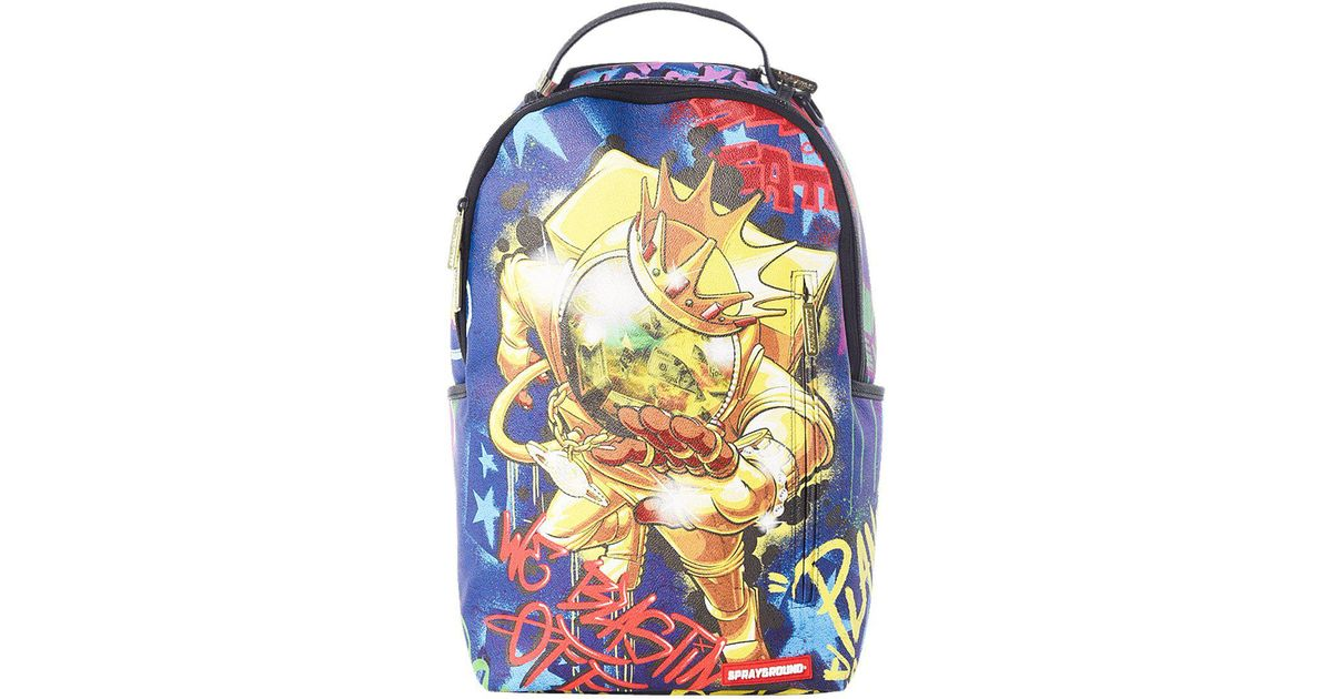 Sprayground Leather Gold Astronaut On The Run Backpack In Blue Lyst