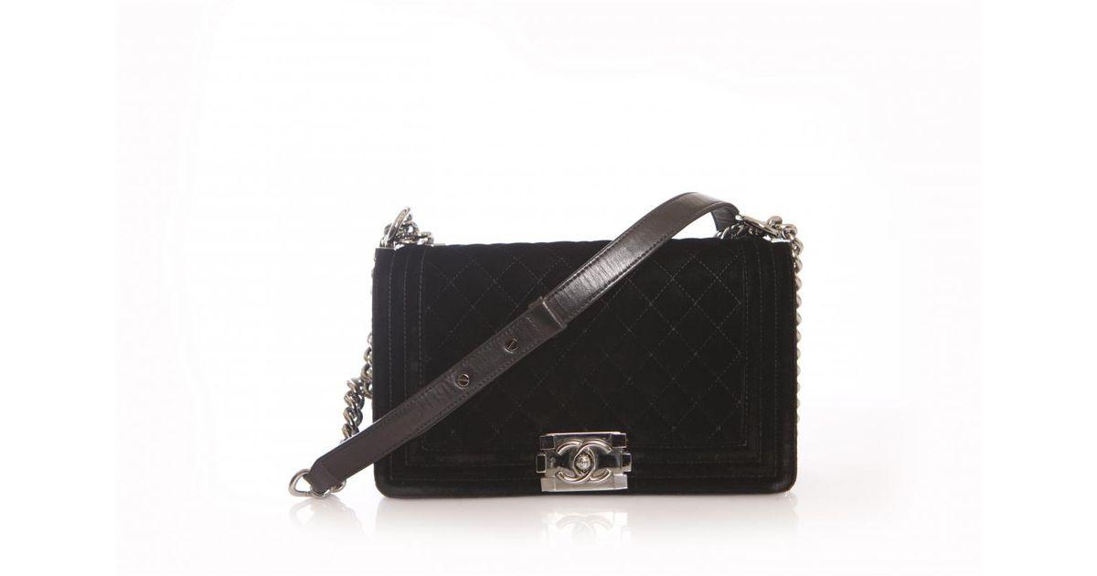 4ca46e2836ea Chanel Boy Velvet Handbag in Black - Lyst