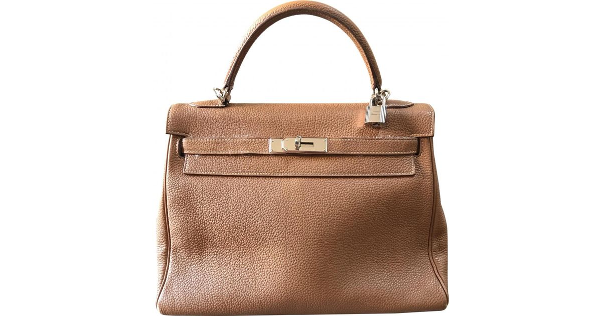 9e319fa2bdf3 Hermès Kelly 32 Leather Crossbody Bag in Brown - Lyst