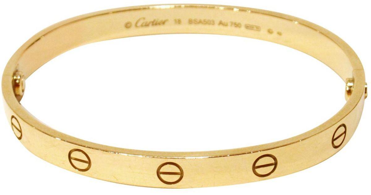 753da552b62 Cartier Pre-owned Love Yellow Gold Bracelet in Metallic - Lyst