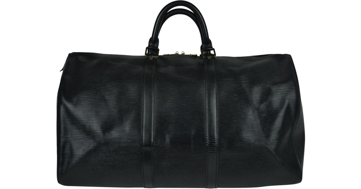 d9c7abb2fcfc Lyst - Louis Vuitton Pre-owned Keepall Leather Weekend Bag in Black for Men