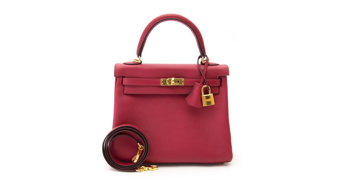 Lyst - Hermès Pre-owned Kelly 25 Red Leather Handbags in Red a0d2e20871586