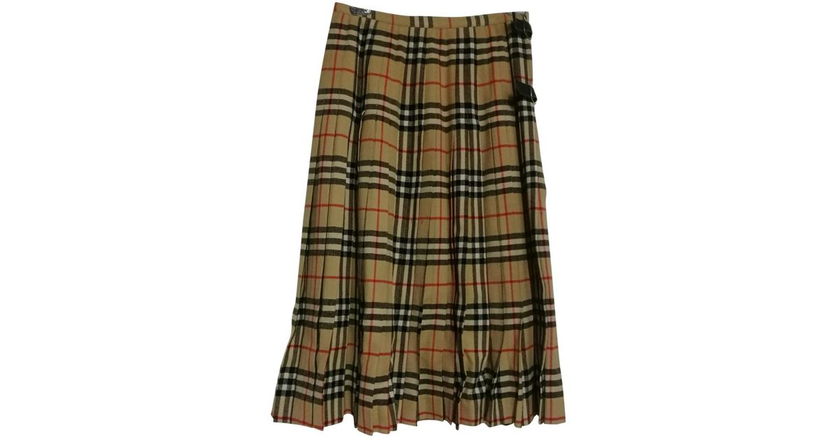 6afe5dd667aa Burberry Pre-owned Wool Mid-length Skirt in Green - Lyst