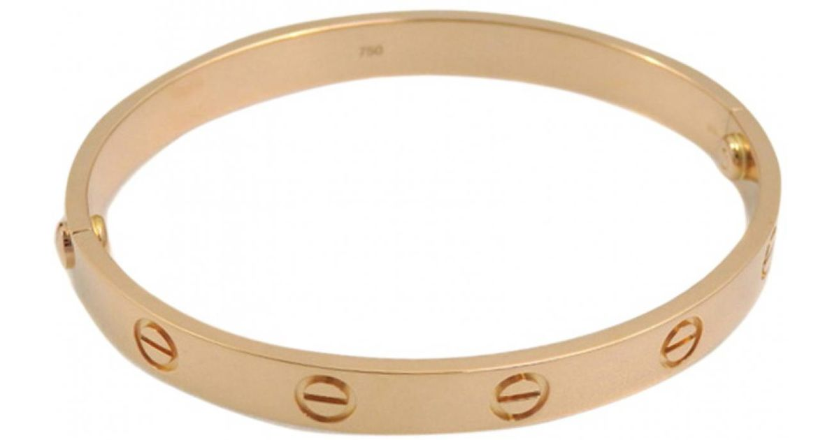 4b01acac3bd Lyst - Cartier Pre-owned Love Pink Gold Bracelet in Yellow