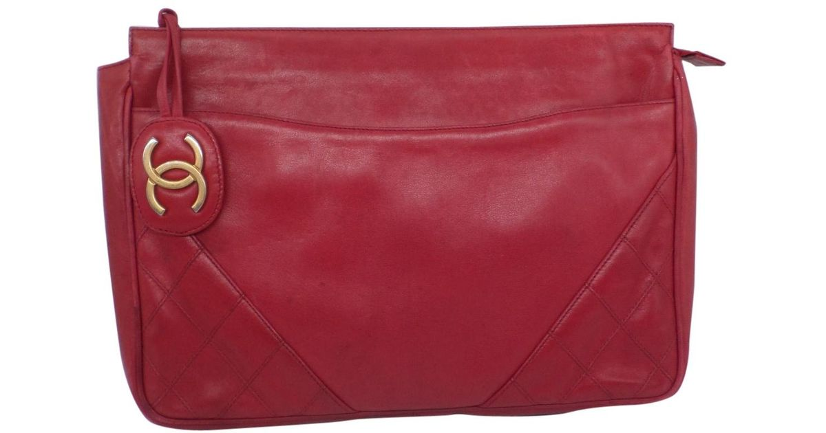 44af74f9d3a1 Lyst - Chanel Vintage Timeless Red Leather Clutch Bag in Red