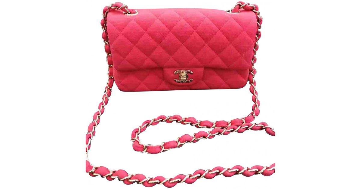 ca7c36bee6fb1b Lyst - Chanel Pre-owned Timeless Velvet Crossbody Bag in Pink