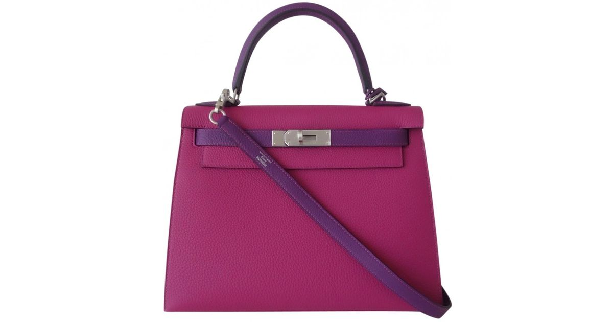 Sac bandoulière Kelly 28 en cuir Hermès en coloris Purple