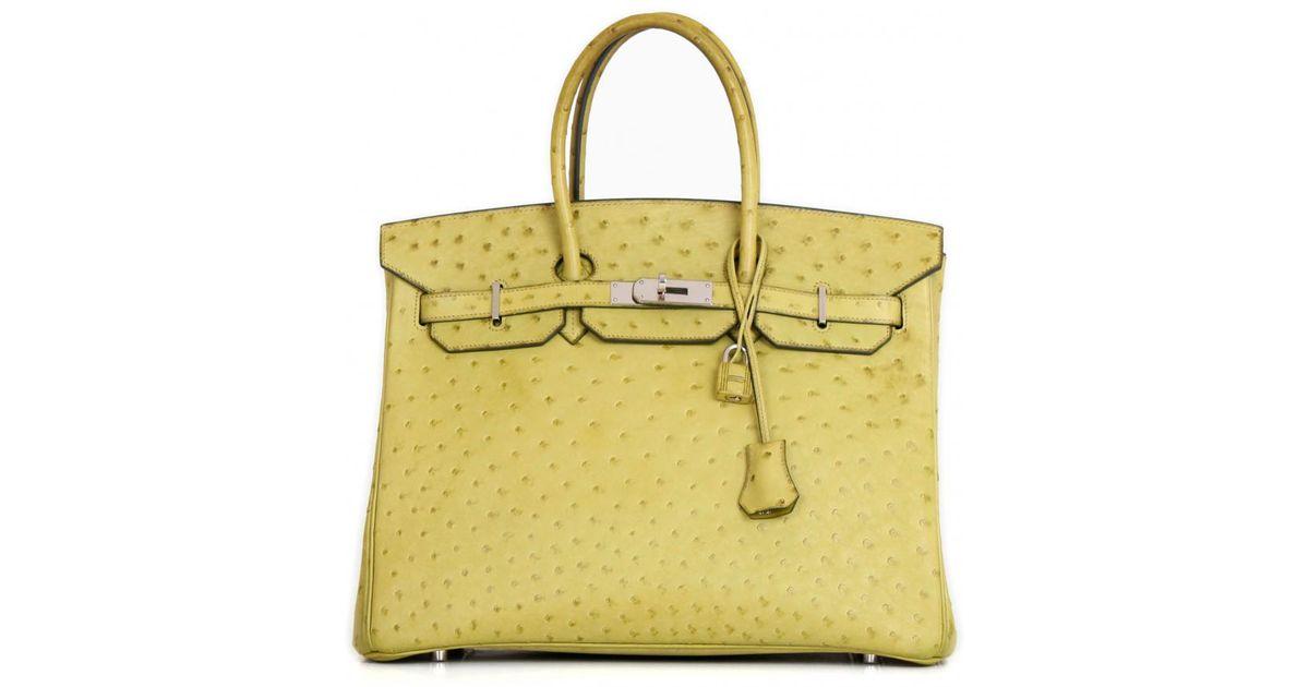 Lyst - Sac à main Birkin 35 en autruche Hermès en coloris Vert 8b7a746af0f