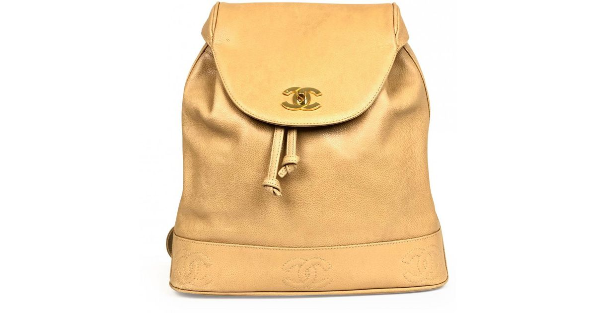 b9b32f4e0306 Chanel Vintage Beige Leather Backpacks in Natural - Save 1% - Lyst