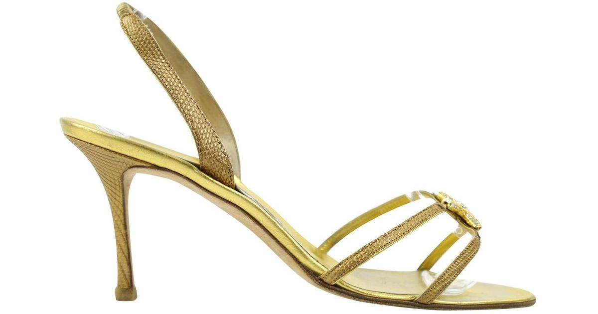264c653a1c5 Lyst - Manolo Blahnik Pre-owned Lizard Heels in Metallic