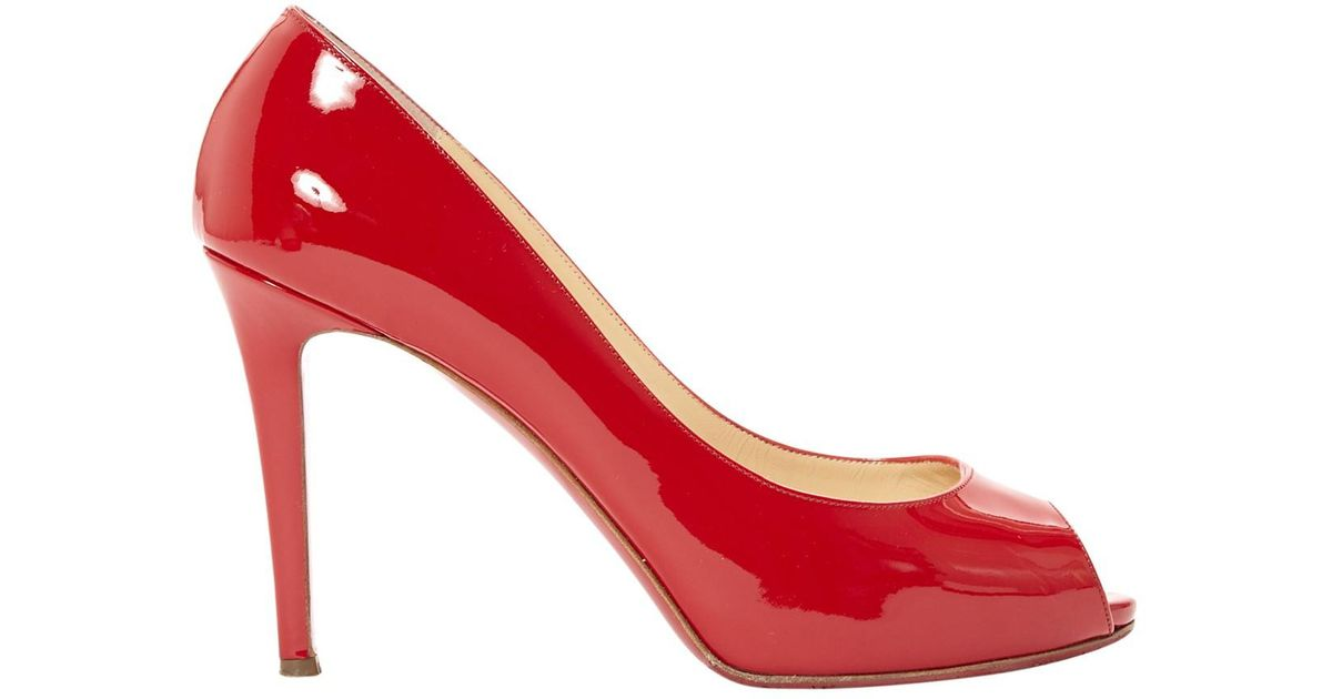huge selection of 01e92 15778 Christian Louboutin - Red Pre-owned Patent Leather Heels - Lyst