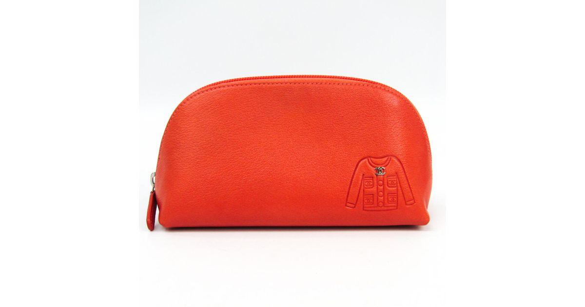 df14adc06138 Lyst - Chanel Orange Leather Clutch Bag in Orange