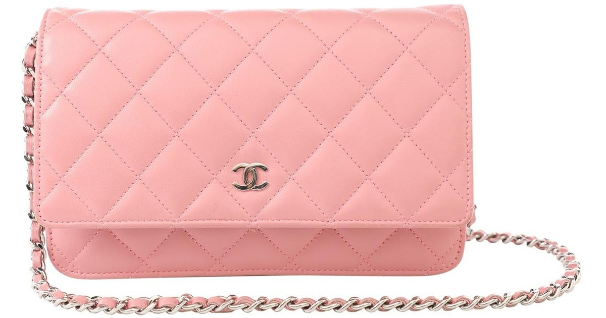 019f58f8e7 Chanel Wallet On Chain Pink Leather Clutch Bag in Pink - Lyst