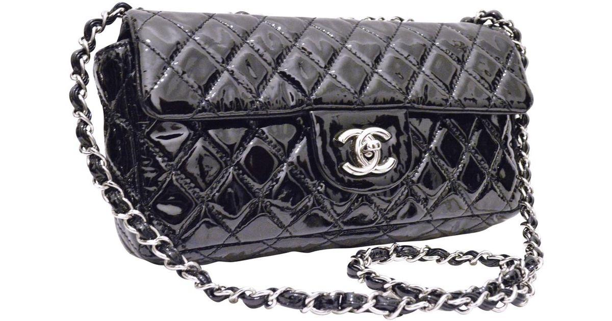 e2d47986a57e Chanel - Black Timeless Patent Leather Crossbody Bag - Lyst