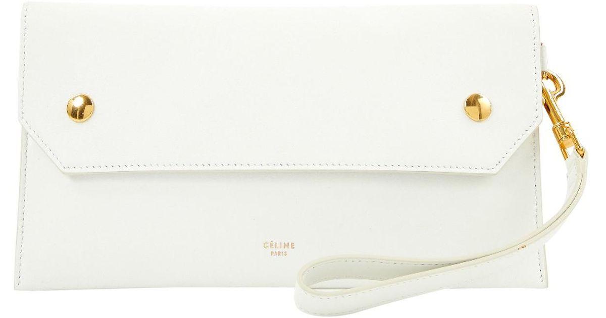 Lyst - Céline Leather Clutch Bag in White b2596dd2eb80d