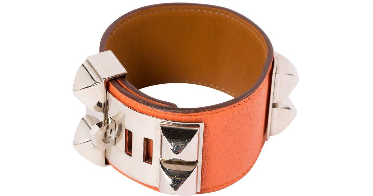 88a6c6202b7 switzerland hermes bracelet orange a7c3f f6d1b  closeout lyst hermès pre  owned collier de chien leather bracelet in orange 98d46 18246