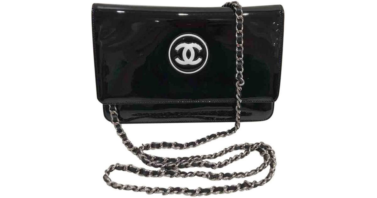 d27befef1c03 Lyst - Chanel Wallet On Chain Patent Leather Crossbody Bag in Black