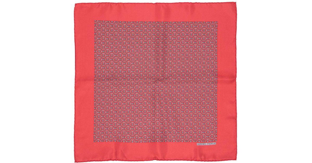 Lyst - Echarpe Pochette en soie Hermès pour homme en coloris Rouge 2a8e72ac16b