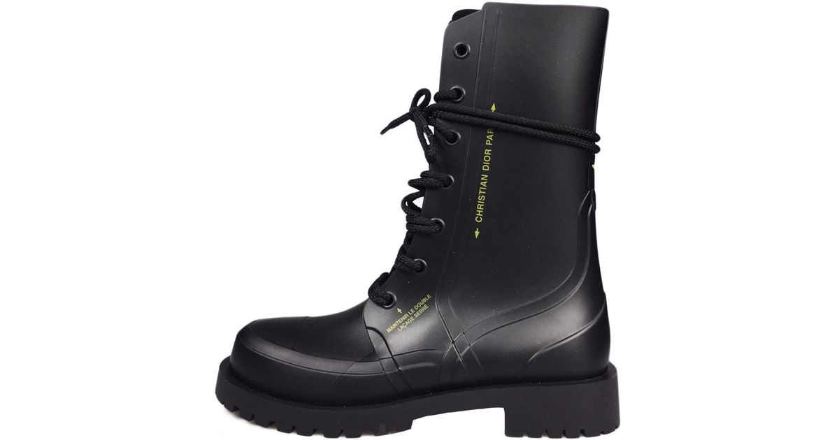 Dior Camp Black Rubber Ankle Boots - Lyst