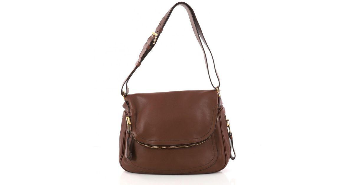 c0b9010875 Lyst - Tom Ford Pre-owned Jennifer Leather Handbag in Brown