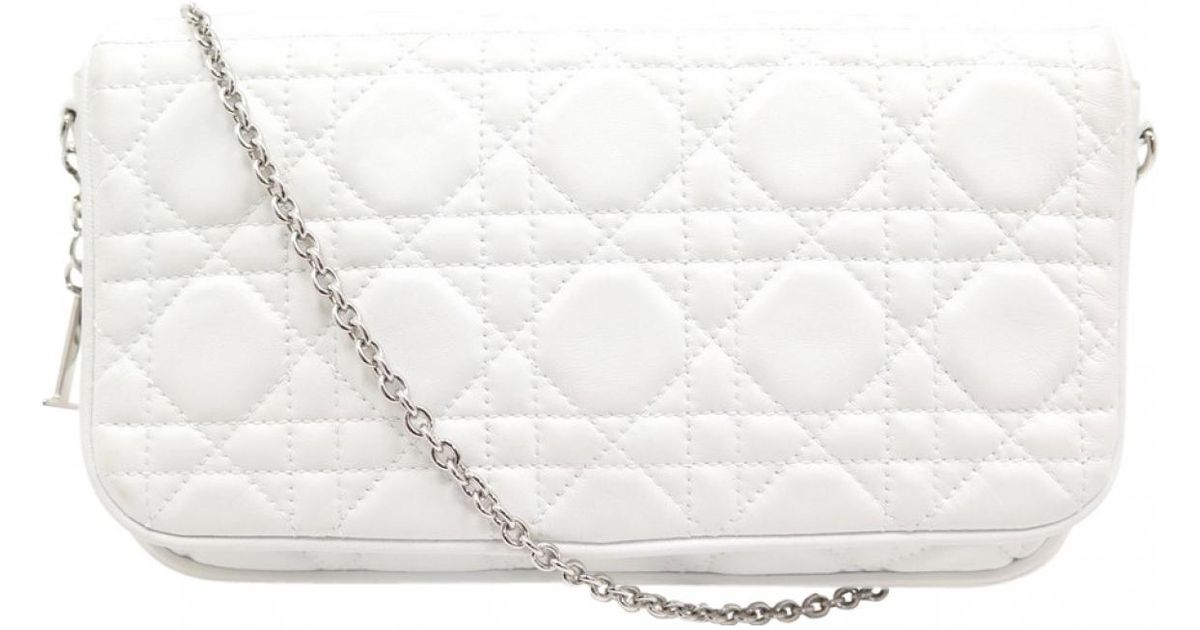 1197c2dcb Dior White Leather Clutch Bag in White - Lyst