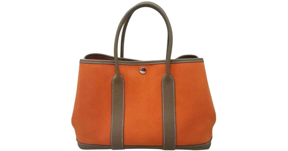 b4a1369ed6 Sac à main Garden Party en toile Hermès en coloris Orange - Lyst