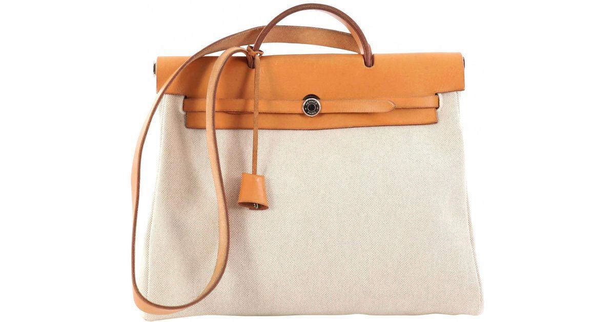 e6d286221384 Hermès Pre-owned Herbag Handbag in Orange - Lyst