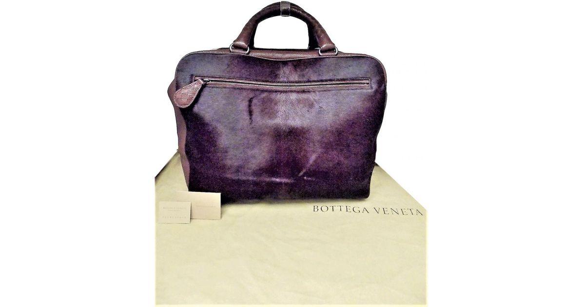 1a5d3a7eeb Lyst - Bottega Veneta Burgundy Fur Travel Bag in Purple