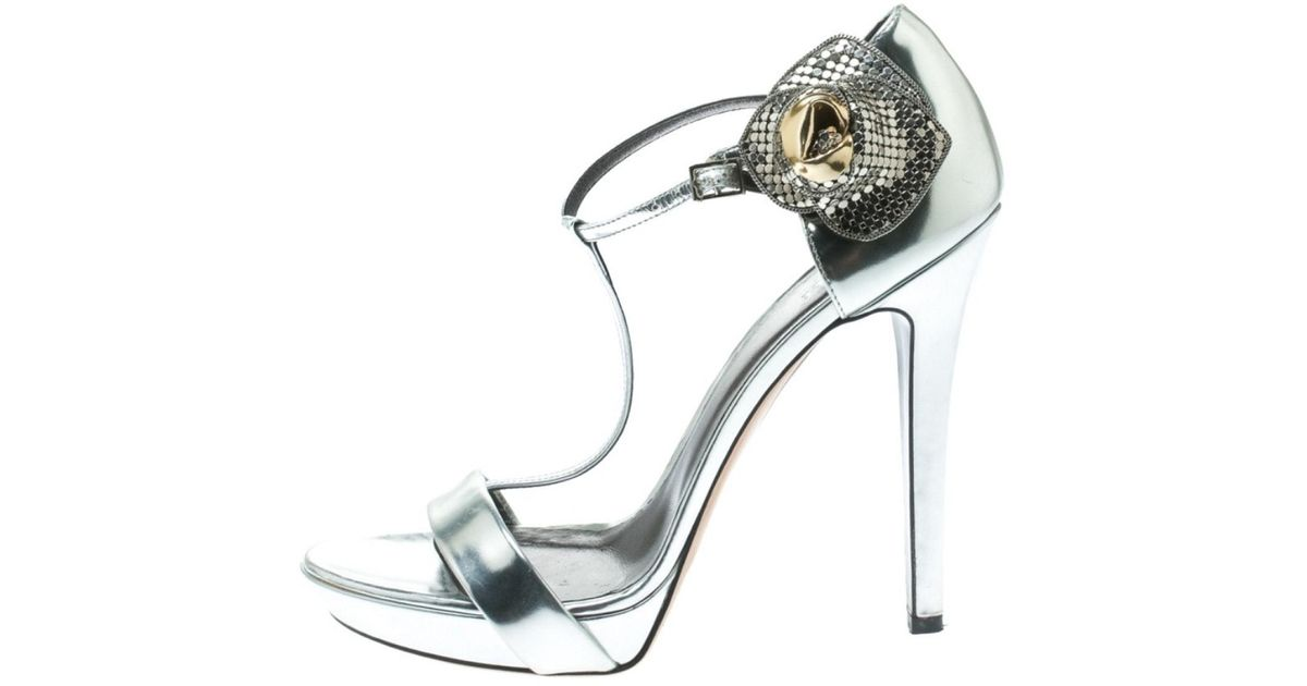 Silver Patent Leather Sandals