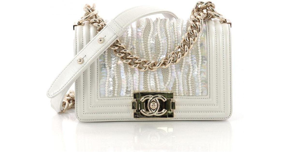 Chanel White Boy Leather Handbag