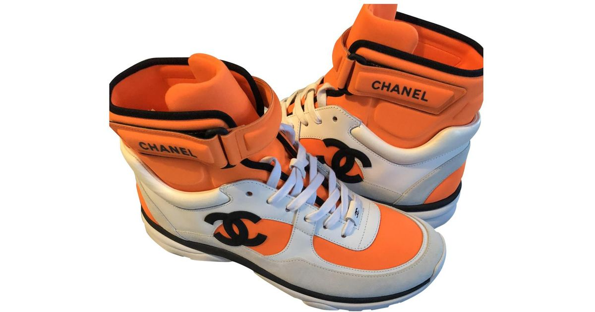Chanel Trainers in Orange - Lyst