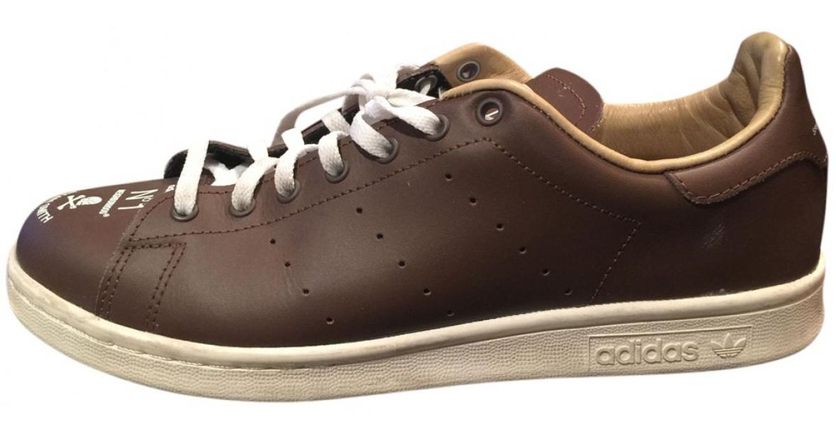 78db14475736 Lyst - adidas Pre-owned Stan Smith Brown Leather Trainers in Brown for Men