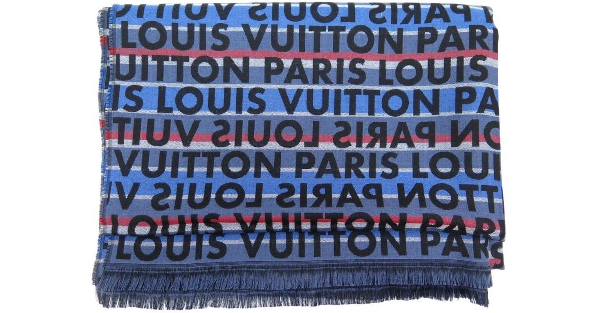 04a428d9657 Lyst - Foulard Louis Vuitton en coloris Bleu