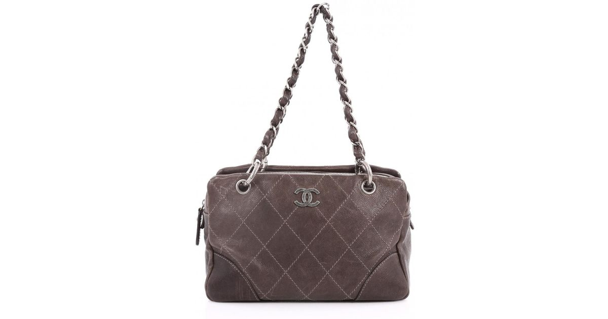 5568adebff3b Chanel Pre-owned Leather Clutch Bag in Brown - Lyst