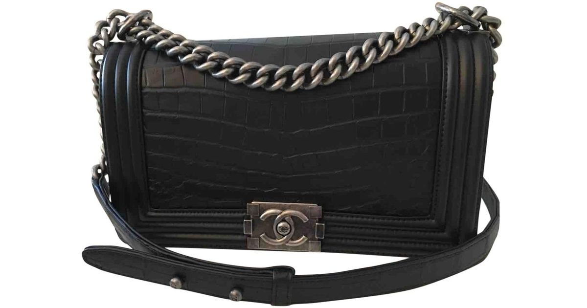 1d6815d32b1f Chanel Pre-owned Boy Crocodile Handbag in Black - Lyst